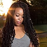 Goddess Faux Locs Crochet Braids Pre looped Crochet Hair Wavy Body Curly Ends Synthetic Braiding Hair Extensions for Black Wo