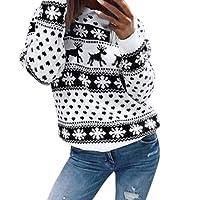 Rameng- Sweat-Shirt Noel Femme Blouse Manche Longue Femme Haut Pull Sweatshirt Imprimé Floral