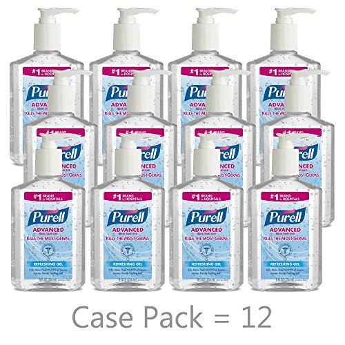 (PURELL Advanced Hand Sanitizer, Refreshing Gel, 8 fl oz Sanitizer Table Top Pump Bottle (Case of 12) -  9652-12)