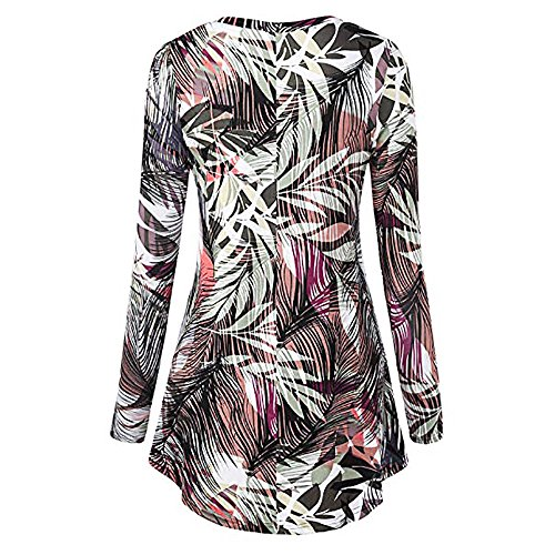 Women's Tunic Tops Floral Print Fancy Blouse Tops Pleated Swing Flare Loose Tops Blouse O-Neck Long Sleeve Peplum tunic tops