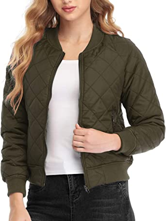 Dilgul Womens Lightweight Quilted Jacket Long Sleeves Zip Up Raglan Bomber Jacket  Padded Jacket with Pockets at Amazon Women's Coats Shop