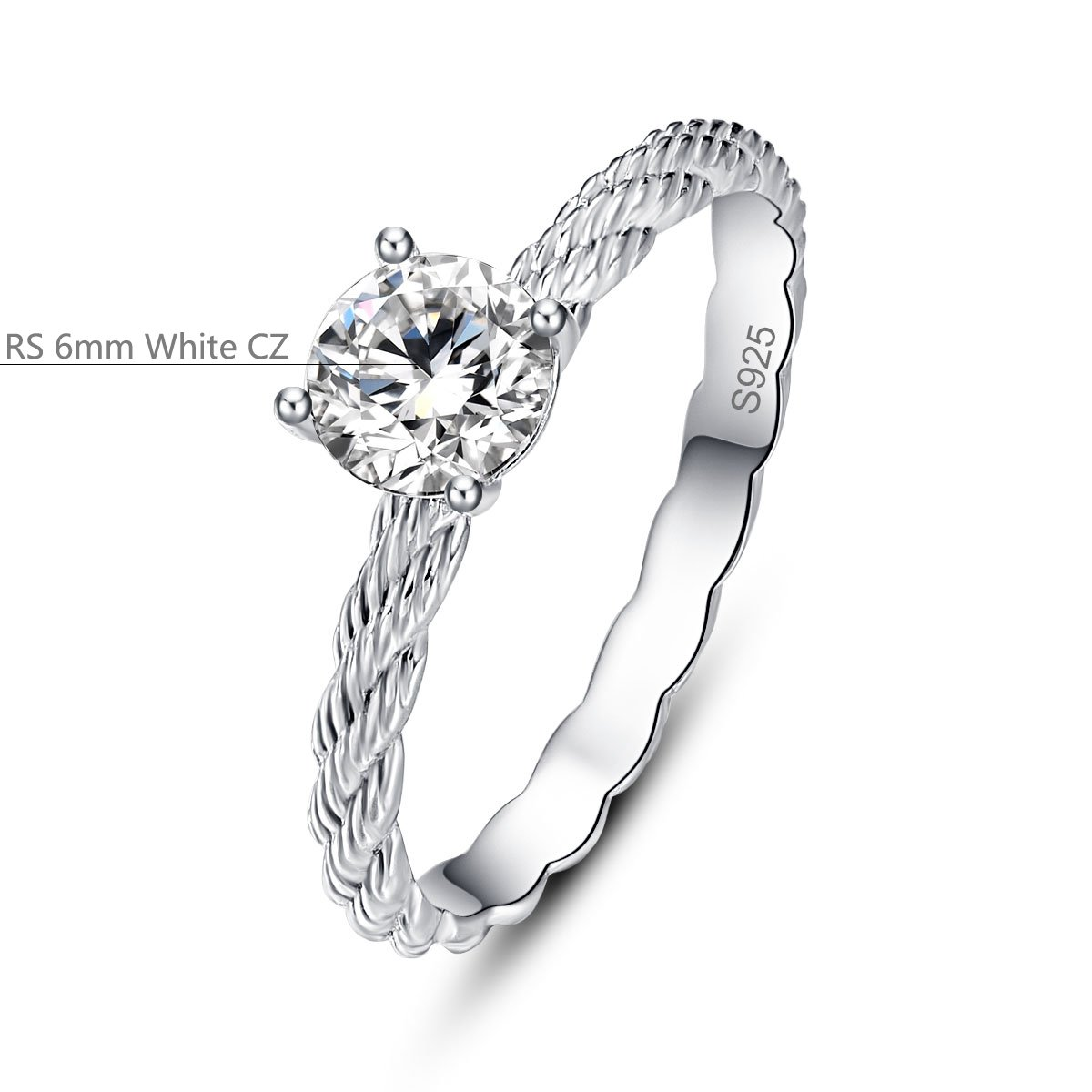 Bonlavie 0,9 ct 925 Sterling Silber Seil Design Solitaire ...
