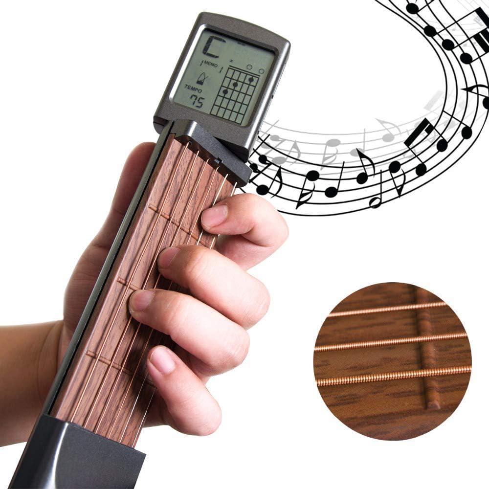 Dr.Taylor Entrenador de acordes de Mini Guitarra, 6 trastes Herramienta de práctica de Guitarra portátil para Principiantes, elástico Ajustable - Pantalla de Tabla de acordes