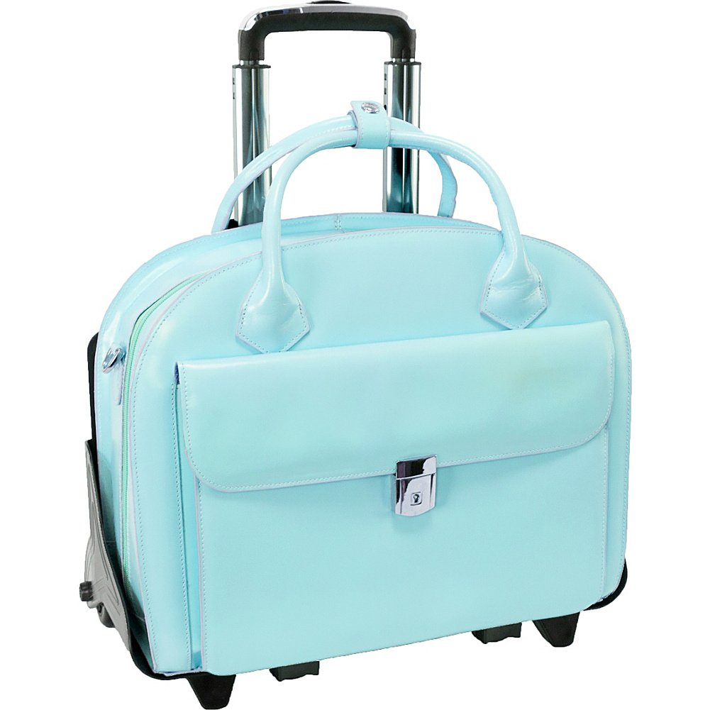 McKleinUSA GLEN ELLYN 94368 Blue Leather Detachable-Wheeled Women's Case