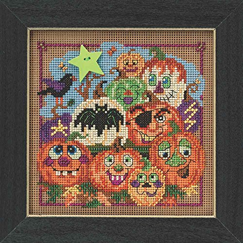 Painted Pumpkins Halloween Beaded Counted Cross Stitch Kit Mill Hill 2015 Buttons & Beads Autumn MH145206]()