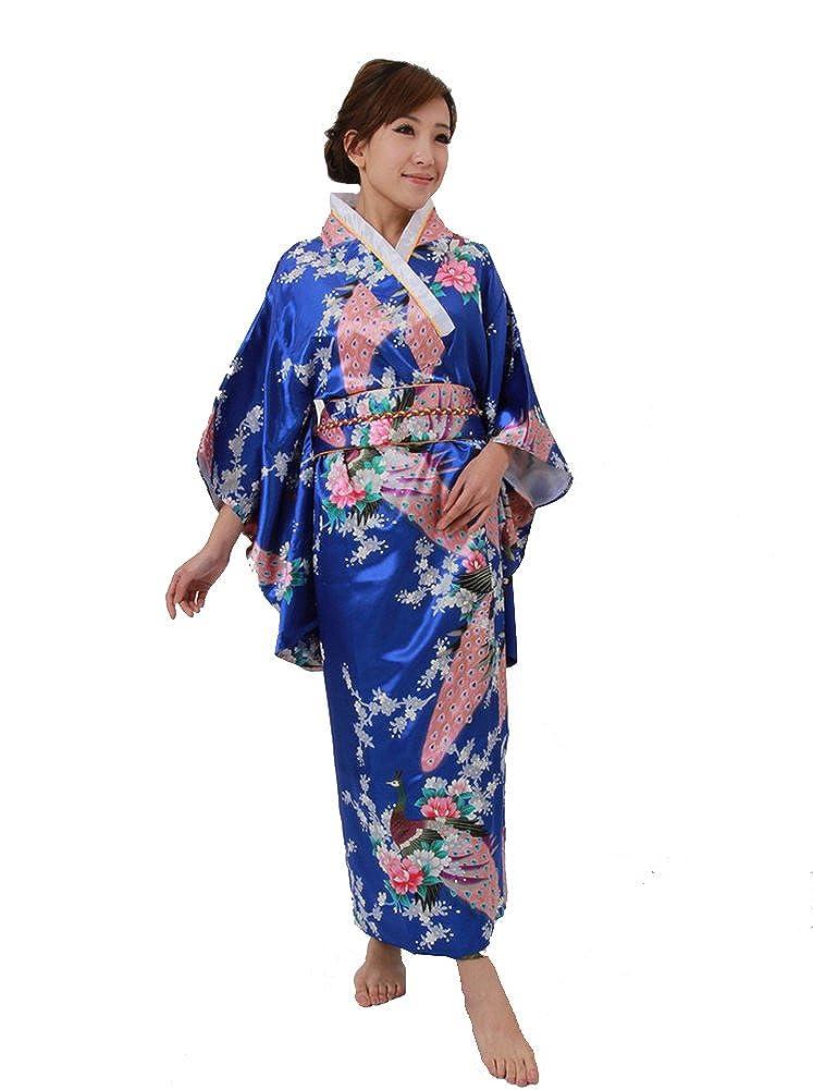 Yue Lian Damen Japanisch Blumen Yukata mit Bindegürtel/Obi Robe Kostüm Blau Einheitsgröße