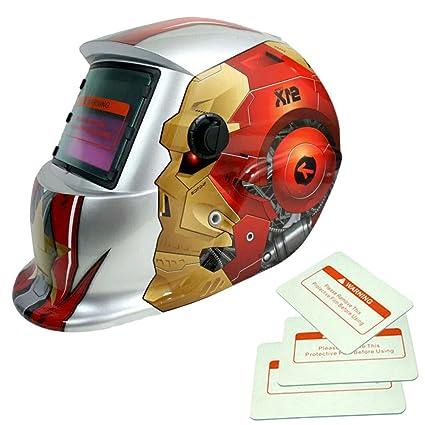 Generic Automatic Darkening Welding Filter Helmet Solar Energy Weld Goggle Mask w/3 Lens - Robot Man - - Amazon.com