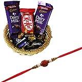 SFU Com Rakhi With Chocolates (2 Pcs Dairy Milk, Kitkat, 5 Pcs Eclairs , Rakhi, Roli, Chawal, Chandan, Misri)