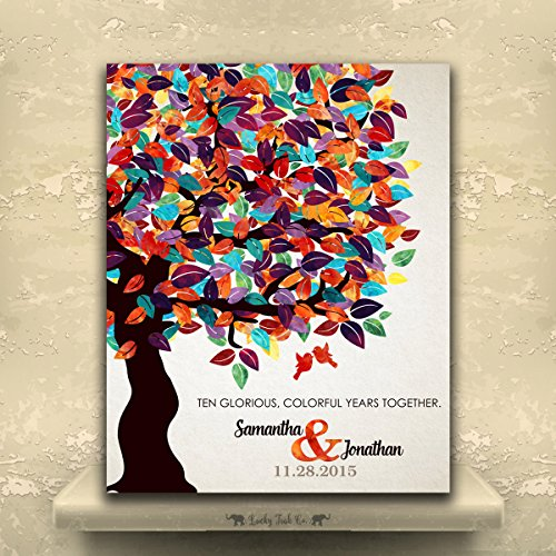 9.5 X 12 Metal Print 10 Year Anniversary Personalized Gift For Husband Gift For Wife Colorful Fruit Tree Wedding 1st First 2nd 10th Gift For Couple Gift For Parents Custom Art Print (Anniversary Tin Gift)