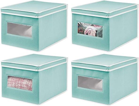 mDesign Juego de 4 Cajas de Tela – Práctico Organizador de armarios con Tapa para Dormitorio, salón o baño – Caja de almacenaje apilable de Fibra sintética Transpirable – Turquesa/Blanco: Amazon.es: Hogar
