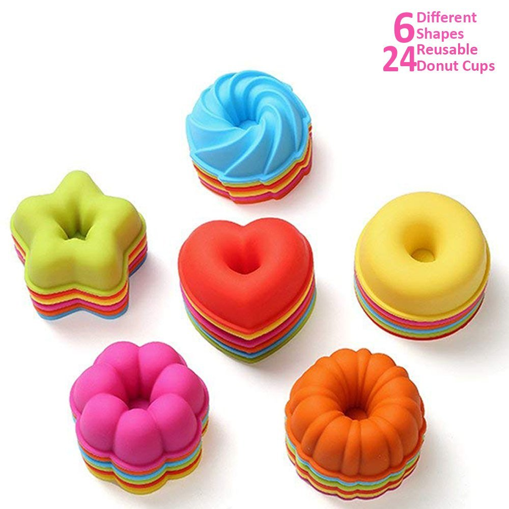 ULEE 24-Pcs Reusable Silicone Donut Molds - Nonstick & BPA Free Donut Baking Cups - 6 Shapes with 4 Brilliant Colors, Dishwasher, Oven, Microwave, Freezer Safe