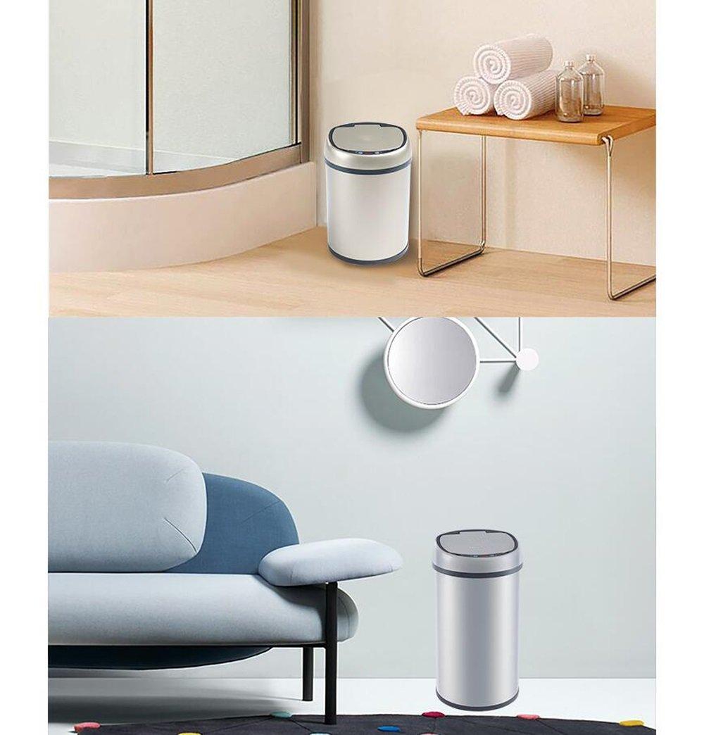 Tao Tao Tao Smart Trash Auto Sensing Home Office Gran Carga y batería de Creative de Acero Inoxidable Recubierto (6L, 8L, 12L Paquete 1) (Color : La Plata, Tamaño : 6L) 4ca2a0
