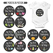 My First Holiday Baby Stickers Milestone Christmas, Birthday, Halloween, Easter, Thanksgiving Baby Sticker Chalkboard