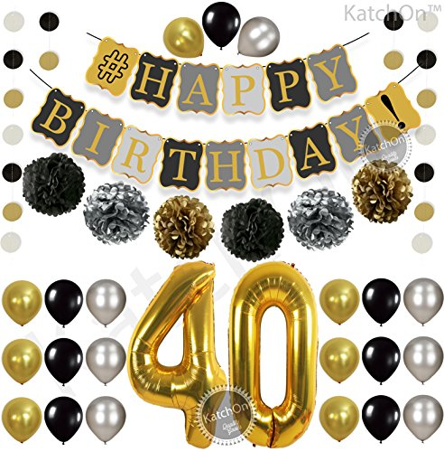 Vintage 40th BIRTHDAY DECORATIONS PARTY KIT -Black Gold and Silver Paper PomPoms | Latex Balloons | Gold Number 40 Ballon | Circle Garland | 40th Birthday Balloons|40 Years Old Birthday (40th Birthday Party Decor)