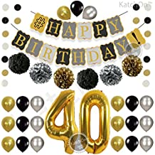 Vintage 40th BIRTHDAY DECORATIONS PARTY KIT -Black Gold and Silver Paper PomPoms | Latex Balloons | Gold Number 40 Ballon | Circle Garland | 40th Birthday Balloons|40 Years Old Birthday Party Supplies