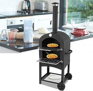 Horno portátil portátil para pizza al aire libre, BBQ-Pizza, herramienta para hornear pan con ruedas, horno de pizza al aire libre, fabricante de pizza, horno de pizza cocido de madera (envío desde