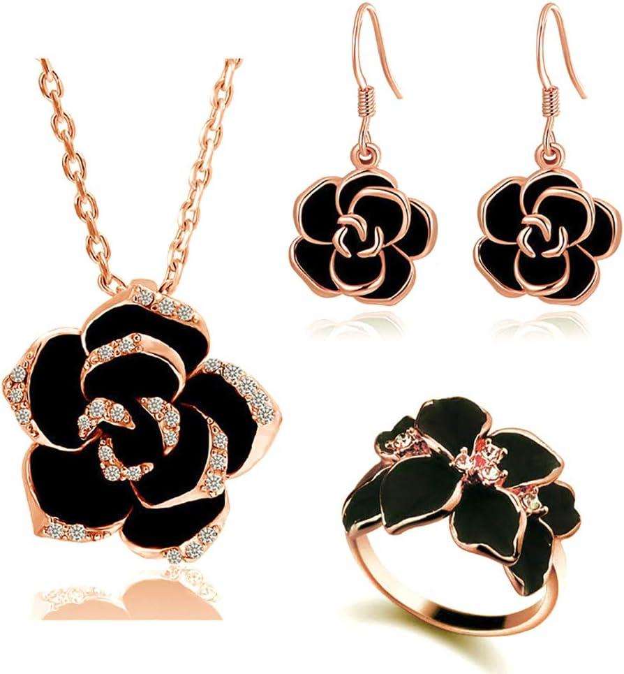 Emorias 1 Set Collar de Aleación Rosa Negra Pendientes Juego de Joyas de Mujer Anillo Boda Regalos Conjunto - Rosa Oro