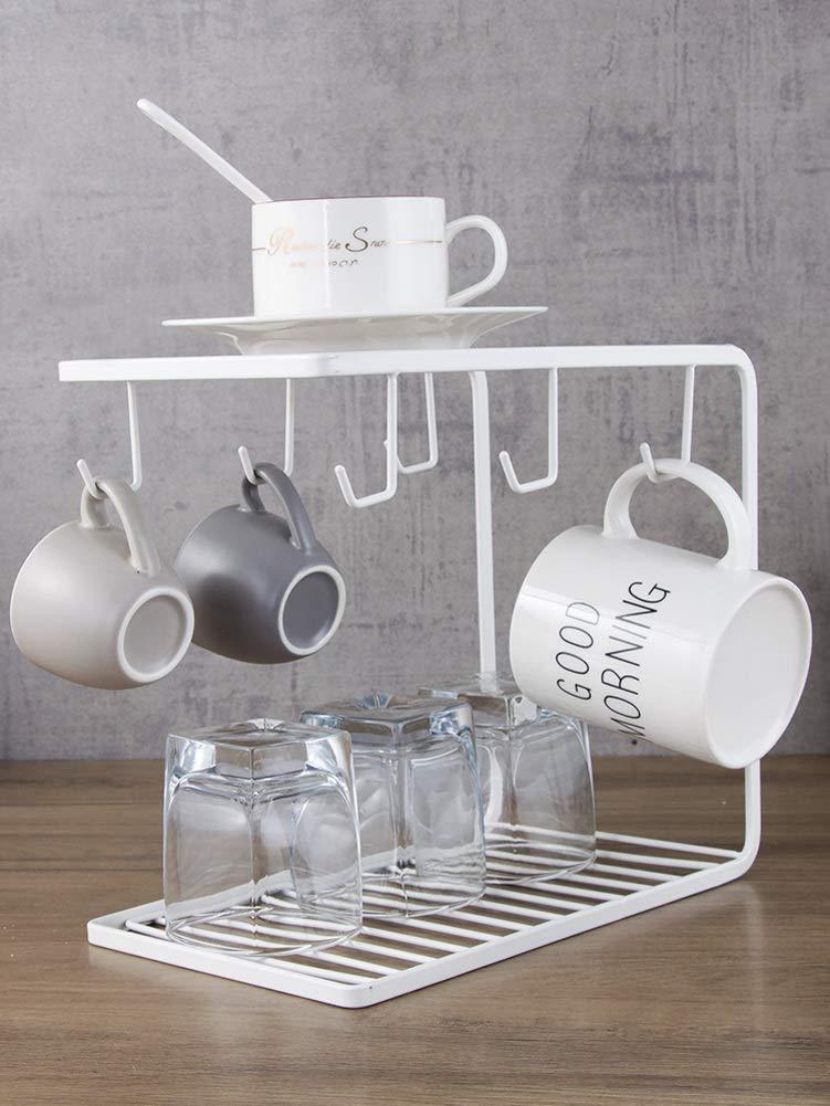 HUIYUE Stainless Steel Cup Holder, Creative Mug Holder,Home Living Room Coffee Tea Mug Hook Rack -A 25x15x22cm(10x6x9inch)