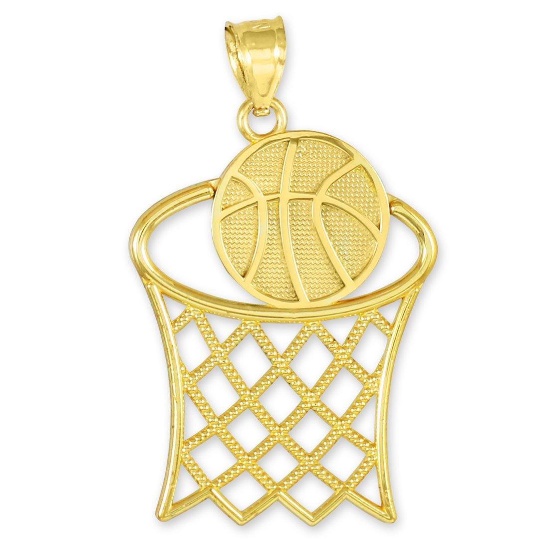 14 quilates 585/1000 Baloncesto Cesta Deportes Oro Colgante collar ...