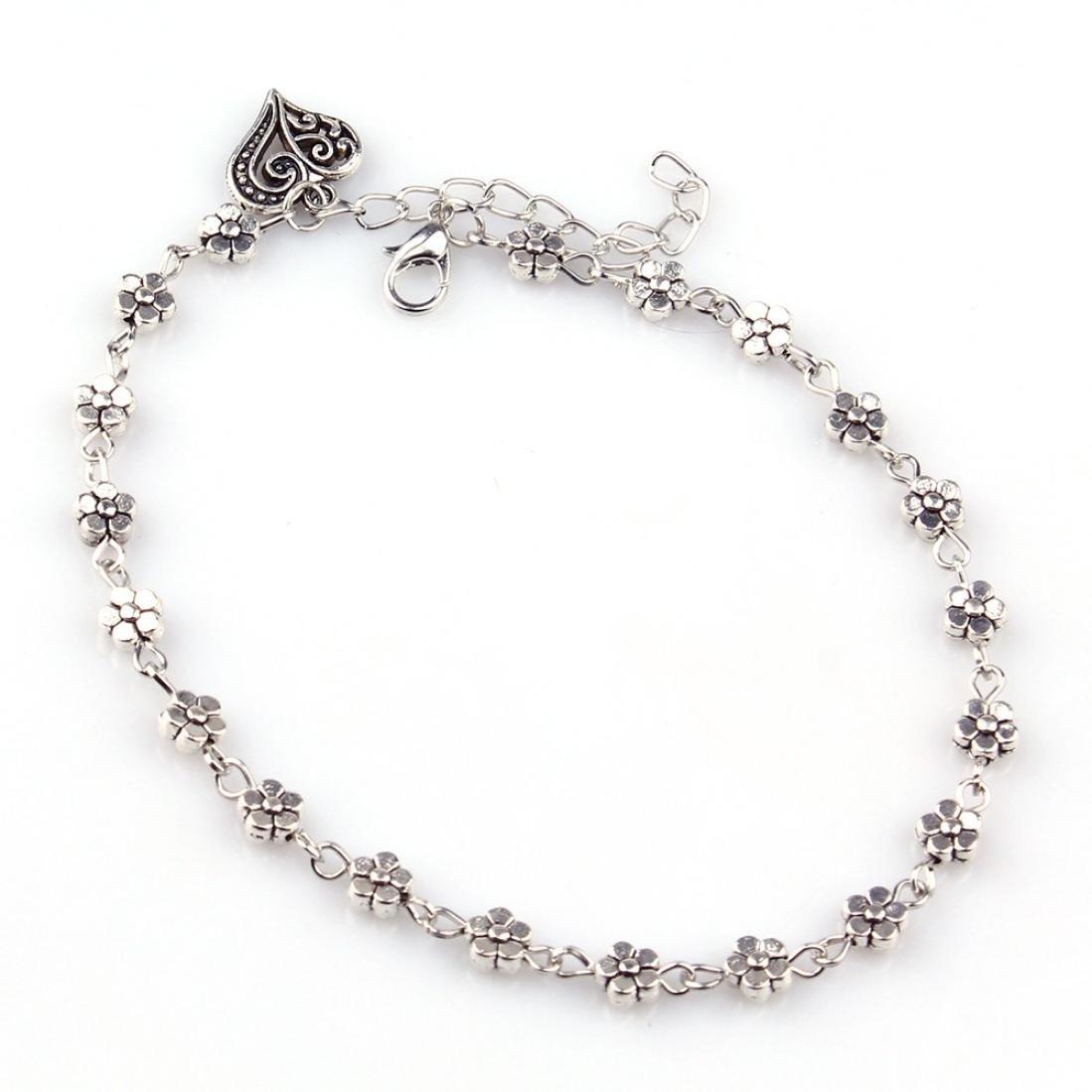 Anklets, Leyorie Women Silver Bead Flower Chain Ankle Bracelet Barefoot Heart Pendant Sandal Beach Foot