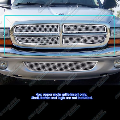APS Compatible with 1997-2004 Dodge Dakota 97-2003 Durango Stainless Steel Mesh Grille Grill Insert D75730T