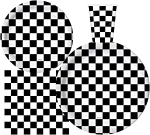Serves 30 | Complete Party Pack | Black and White Checkered | 9