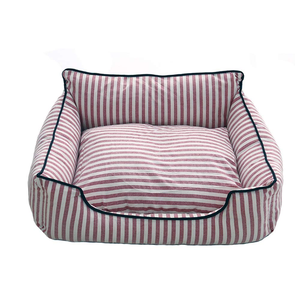 L Desti Flakes Pet Bed Linen Stripes Kennel Removable and Washable Cat Litter Seasons Teddy Small and Medium Dogs Universal (Size   L)