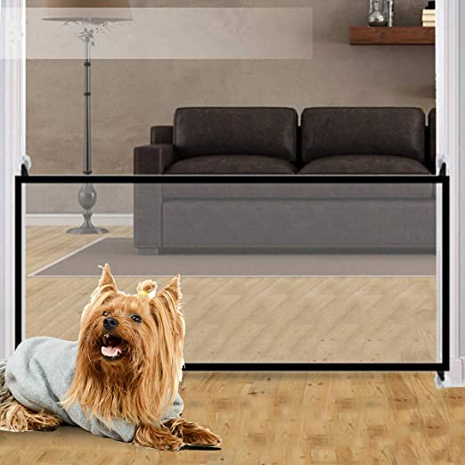 Xiluck Puerta mágica para Mascotas, Puerta mágica para Perros, Puerta de Seguridad portátil Plegable para Escalera, Puerta de Mascota con Aislamiento, Puerta de Seguridad para niños (Negro): Amazon.es: Productos para mascotas