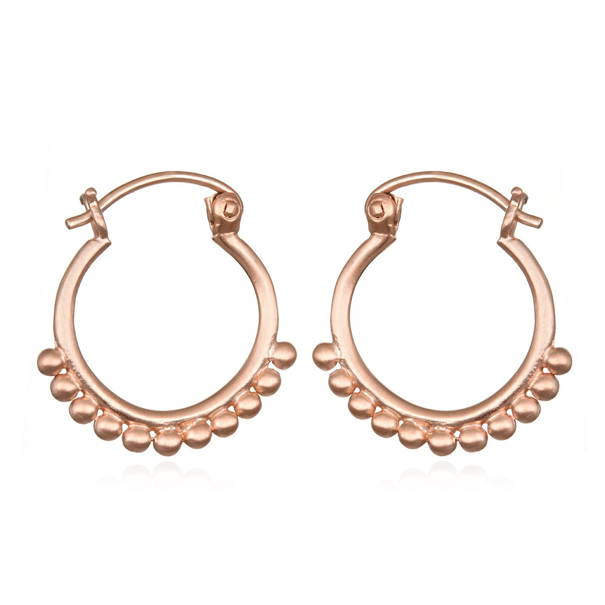 Satya Jewelry Womens Rose Gold Small Mandala Hoop Earrings, One Size ERG1