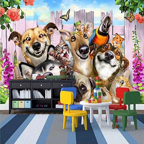 Dogs Wallpaper-Nursery Wallpaper Removable Wallpaper-Peel and stick Wall Mural,Playroom Wallpaper Wall decor 3D Kids Cartoon