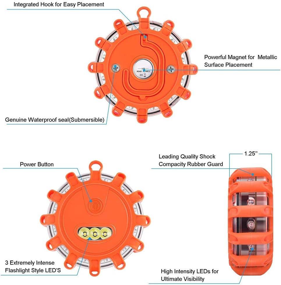 Magnetic Base /& Hook Storage Bag LED Road Flare,Car Emergency Lights Flashing Road Safety Beacons Worklight Hazard Warning Strobe Light Emergency Disc Beacon with 9 Flash Modes 4
