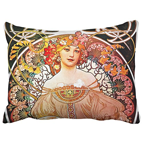 Musesh accent alphonse mucha daydream floral vintage art nouveau Cushions Case Throw Pillow Cover For Sofa Home Decorative Pillowslip Gift Ideas Household Pillowcase Zippered Pillow Covers ()