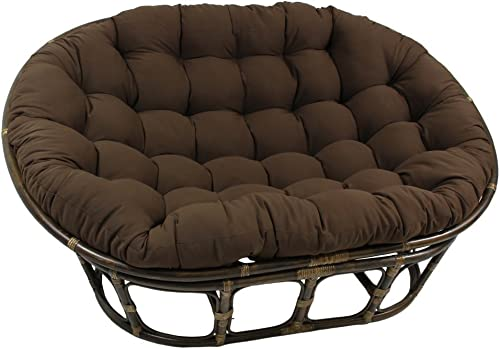 International Caravan Bali Papasan Twill Cushion Loveseat-Black – Black