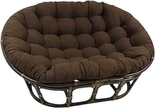 International Caravan Bali Papasan Twill Cushion Loveseat-Black - the best living room sofa for the money