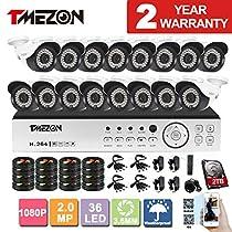 TMEZON 16CH AHD 1080P DVR Digital Video Recorder + 16x 1080P 2.0MP 2000TVL Outdoor Night Vision Bullet Camera Security Kit(2TB HDD)