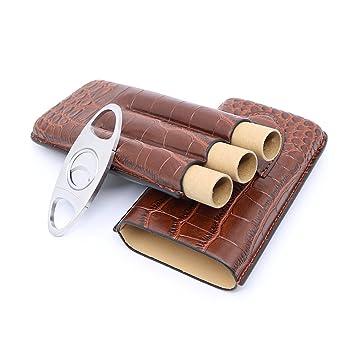 b4266d66695b Amazon.com: Brown Crocodile Leather Travel Cigar Case Holder with ...