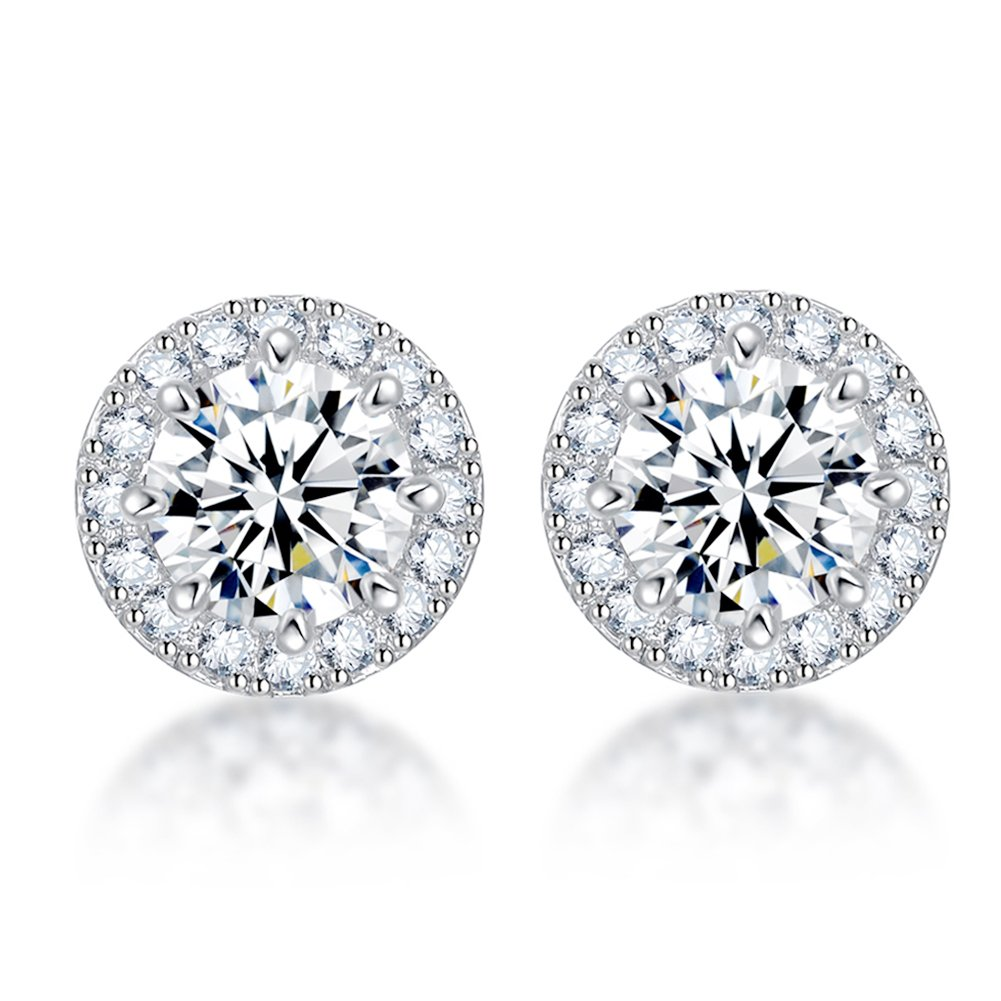 SENCLE S925 Sterling Silver with Platinum Plated Halo Cushion Shape Cubic Zirconia Round Stud Earrings Pierced