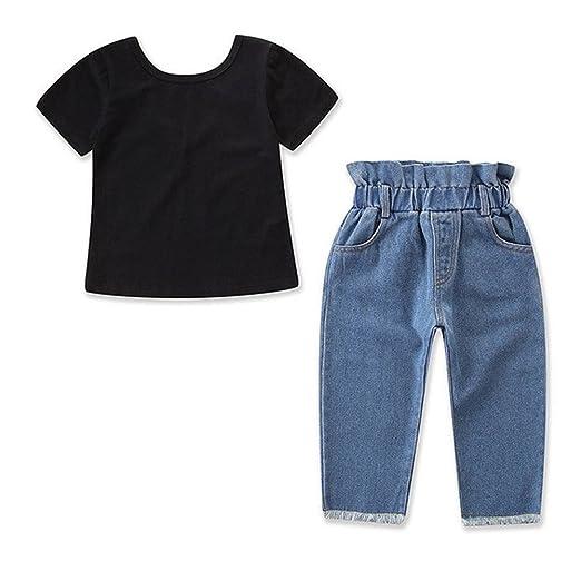 9019976aa8 Amazon.com  Toddler Kids Girl Short Sleeve T-Shirt Top Denim Jeans Outfit  Pant Set 2Pcs  Clothing