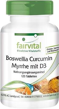 Boswellia + Cúrcuma + Mirra con Vitamina D3 - 120 Comprimidos