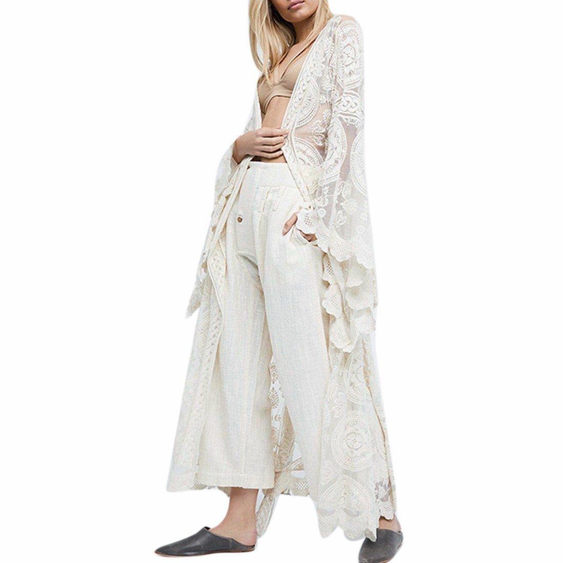 QIYUN.Z Femmes Cardigan Blanc Dentelle Décontracté Style Bohème Crochet Été Longue Cape 3008S1797/1ONE