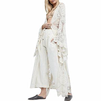 b8ea0dbefa6d7 Moichien Women Summer White Lace Maxi Shawl,Swim Sexy White Crochet Lace  Cover Up, Bohemia Solid Color Swimuit Cover UPS Beach Cardigan .