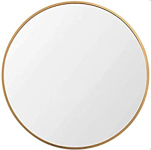 Huimei2Y 15.7 Inch Large Round Wall Mirror Gold Circle Bathroom Round Mirror Wall-Mounted with Aluminum Alloy for Vanity Washrooms Bathroom Entryway Living Room