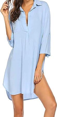 Vestido de túnica de Manga Larga con Capucha y Camisa de Vestir de Playa para Mujer: Amazon.es: Ropa y accesorios