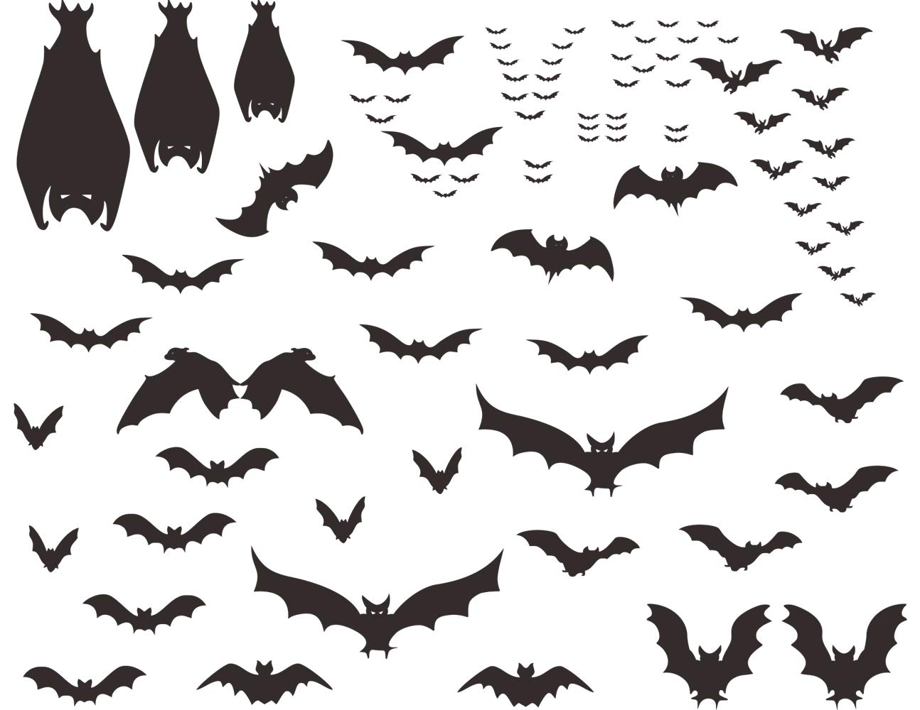 Mozamy Creative Halloween Bats Wall Decals Halloween Décor Black Bats Decals Halloween Decorations by Mozamy Creative