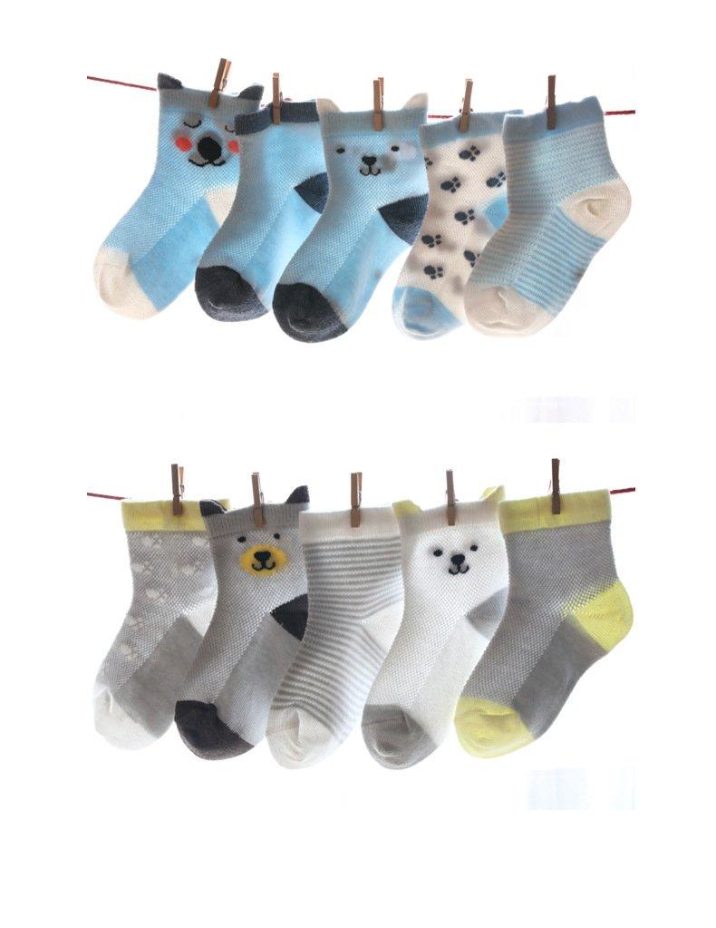 Calcetines de beb/é de Deyou,10 pares//conjunto,Calcet/ín de dibujos animados con pu/ños para beb/és ni/ñas ni/ños