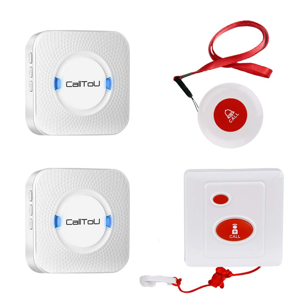 CallToU Caregiver Pager Wireless Nurse Calling Call Alert System 1 Pendant/Portable SOS Call Button 1 Fixed/Mounted Emergency Call Button 2 Receivers Patient Help System for Home/Personal Attention