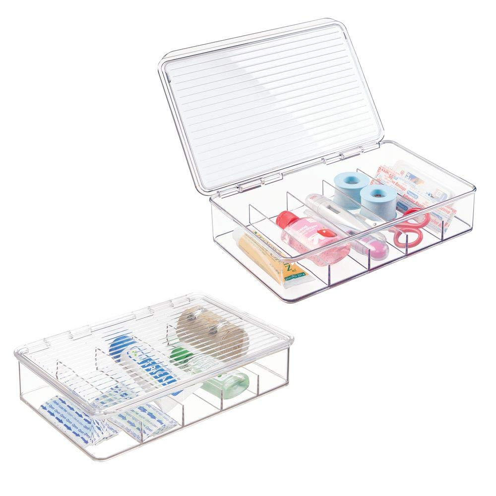 mDesign Rectangular Plastic Stackable Storage Box with Hinged Lid for Organizing First Aid, Medicine, Ointments, Dental, Diabetic Supplies - 5 Divided Compartments, Pack of 2 - Clear by mDesign