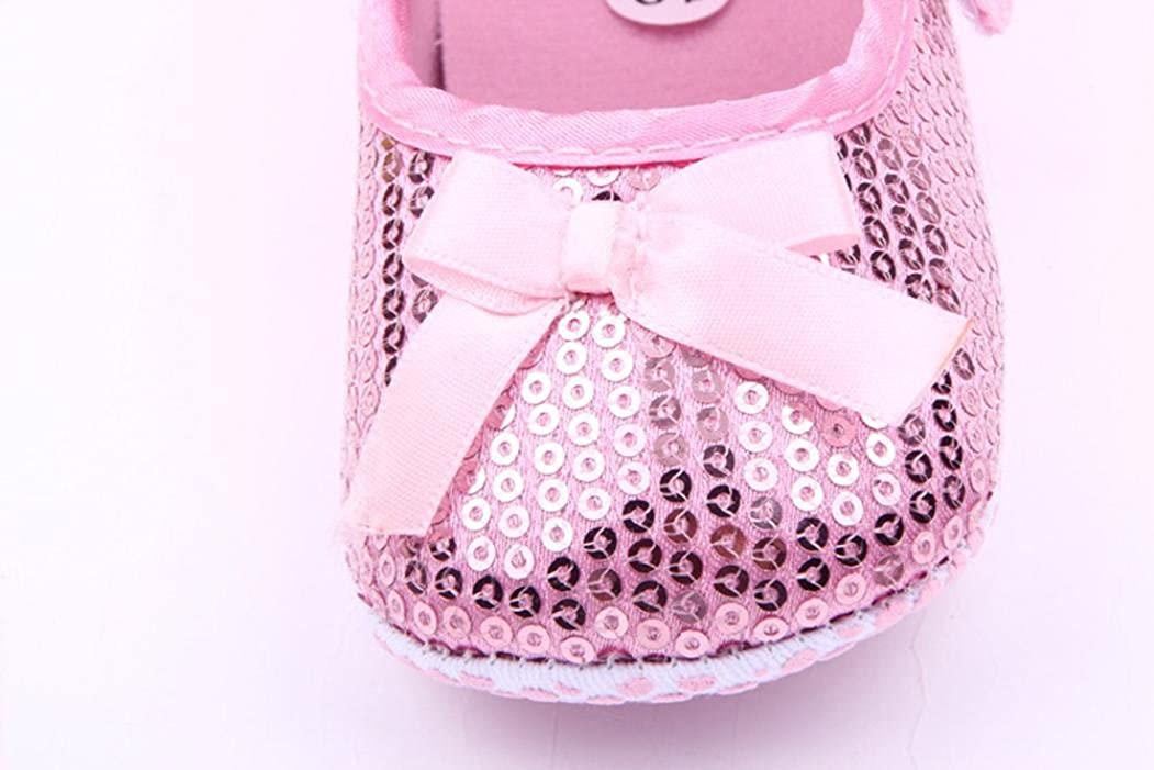 WARMSHOP 0-12M Baby Girls Soft Sole Bowknot Paillette Ornament Anti-Slip Infant First Walkers Crib Shoes
