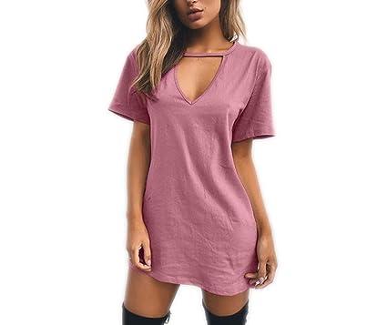 5bb753632de Image Unavailable. Image not available for. Color: Women Tshirt Dress  Choker V-Neck Summer Dresses Short Sleeve ...