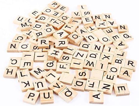 NCONCO - 100 piezas de madera de Scrabble Azulejos Letras Alfabeto Piezas de madera Números Colgantes de ortografía: Amazon.es: Bricolaje y herramientas